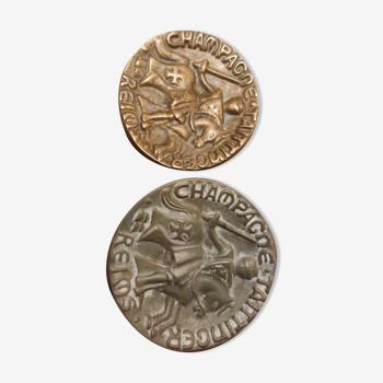 2 empty Taittinger pockets 1 in Bronze and 1 in Ceramics