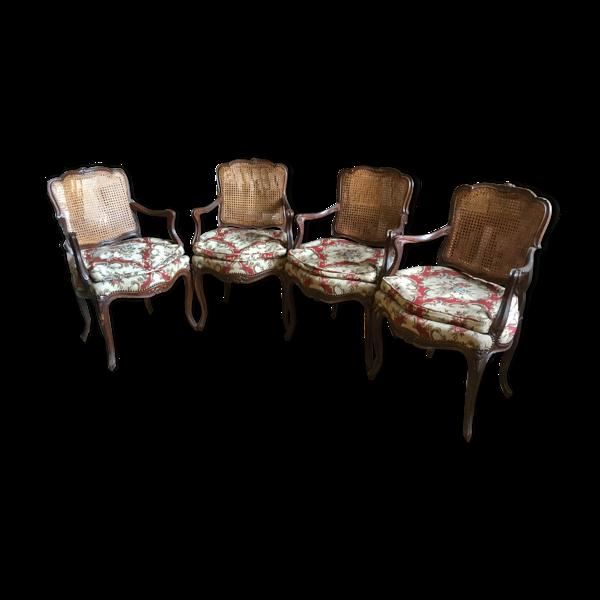 4 fauteuils Louis XV cabriolet cannés travail de tapisserie