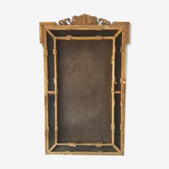 Miroir parclose du 19ème stuc doré à la feuille d'or 143x83cm 20kg