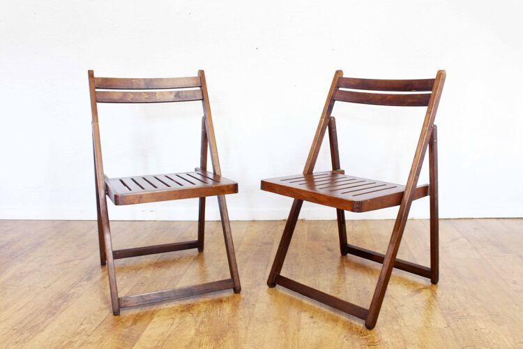 Paire de chaises pliables vintage