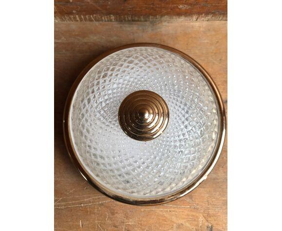 Plafonnier verre moulé & support métal doré