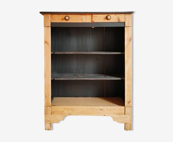 Bibliothèque vaisselier en pitchpin ancien rénové