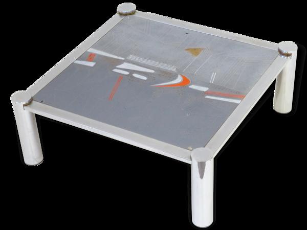 Grande table basse en céramique et chrome 1970 signée De Nisco vintage 70's space age