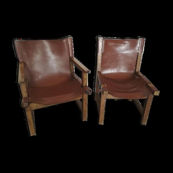 Fauteuils et chaises  cuir et noyer  Paco Muños, édition Darro 1959