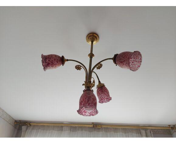 Lustre en bronze style art nouveau opalines 4 feux