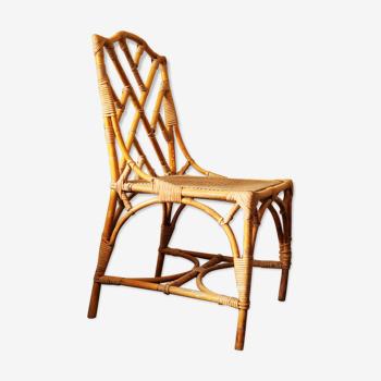 Chaise en bambou chippendale des années 1960