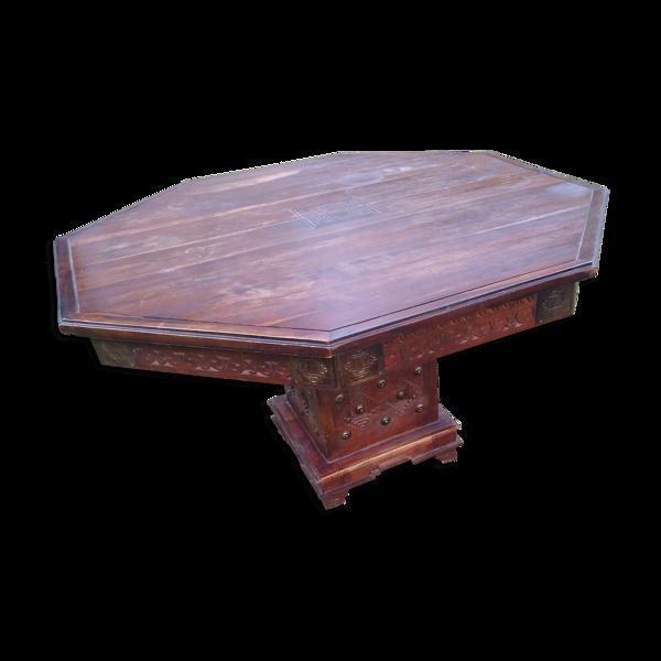 Table octogonale de salon Inde