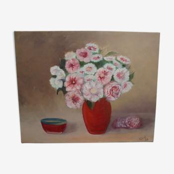 Tableau huile sur toile bouquet de fleurs , signé et daté