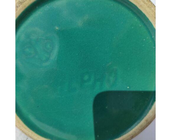 Pichet cruche en grès émaillé vert signé alph n° 89 début xxème art déco