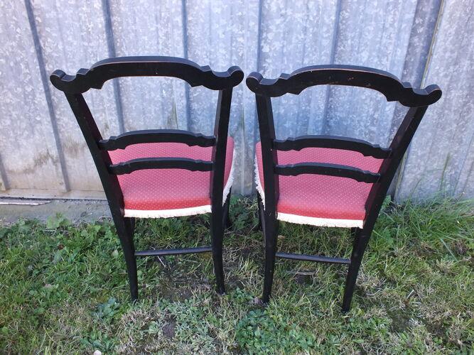 Paire de chaises Napoléon III en bois noirci