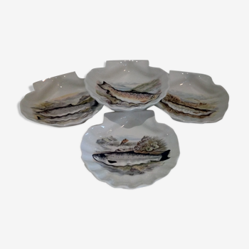 Set de 4 coquilles porcelaine blanche décor poissons
