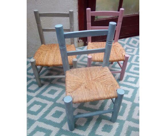 Chaise enfant paillée patine bleue