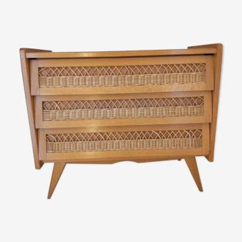 Commode 3 tiroirs bois et rotin vintage
