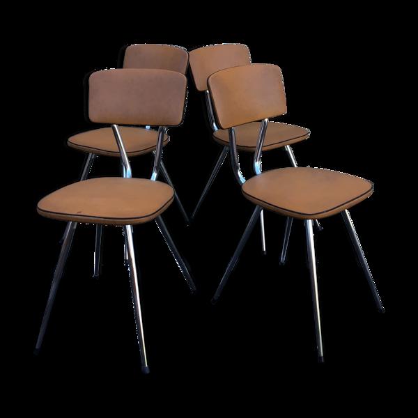 4 chaises en formica pieds compas vintage 1960