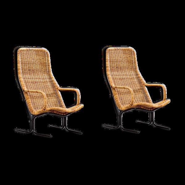 Selency Paire de fauteuils en rotin Dirk van Sliedregt 1960