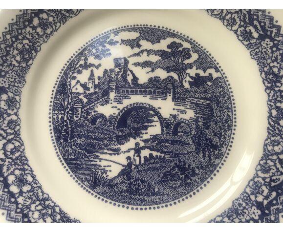 8 assiettes plates en faïence des années 70 made in Italy