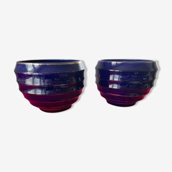 Paire de cache pots en ceramique bleue