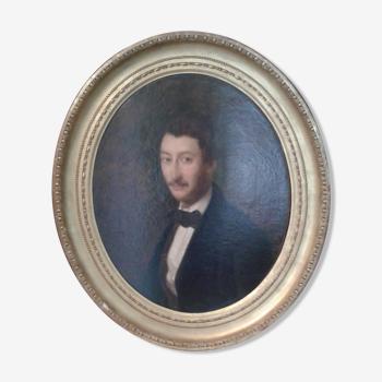 Portrait ancien sur toile homme élégant 19 ème