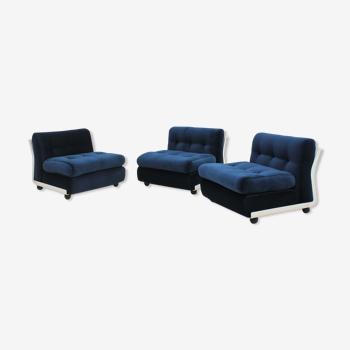 3 fauteuils Amanta Mario Bellini, C&B années 1960