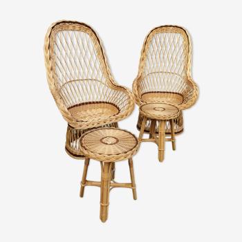 Salon en rotin 2 fauteuils 2 tables en osier naturel