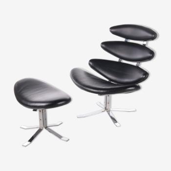 Fauteuil avec repose-pied Erik Jørgensen Corona Design
