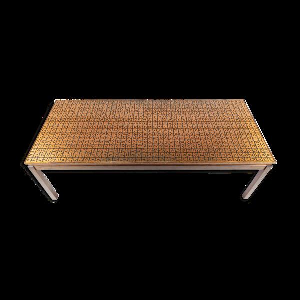 Selency Rosewood copper coffee table de Roskilde Møbelsnedkeri 1969, signé, Danemark