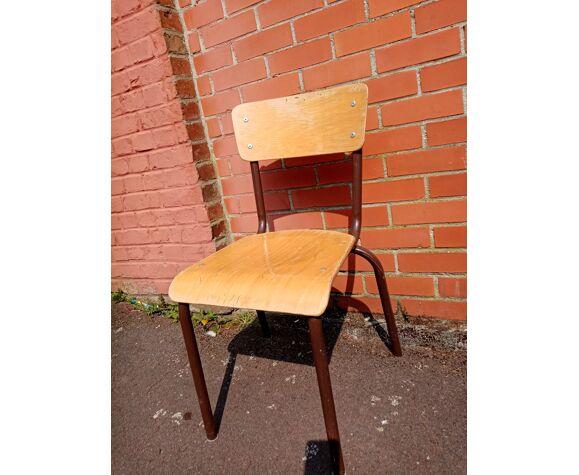 Chaise d'école bois et métal pour grand enfant