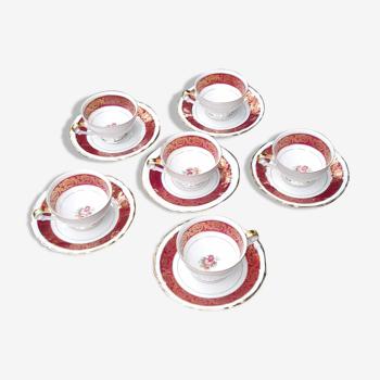 Lot de 6 tasses et sous-tasses motif fleur et dorures CNP porcelaine de luxe France, vers 1950