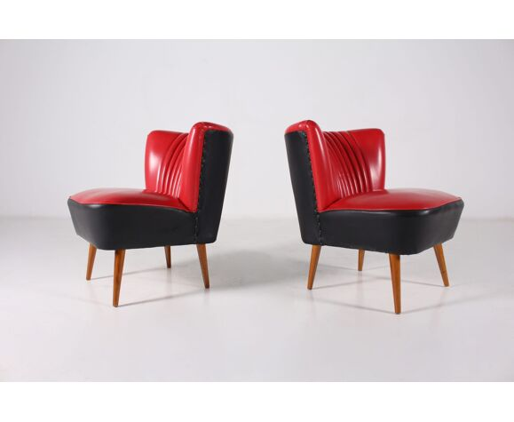 Pair of red and black faux leather cocktail heaters