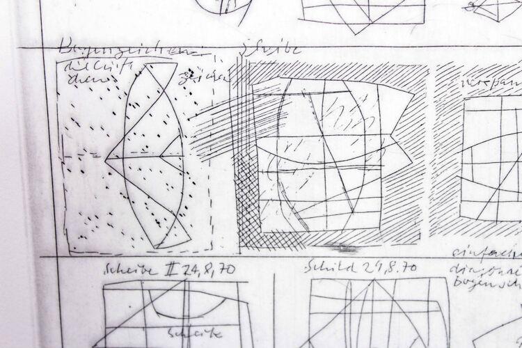 """Gravure de Klotz Lenz intitulée """"croquis"""" 1972"""