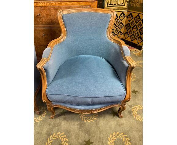 Paire de bergères de style Louis XV velours bleu