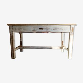 Old vintage farmhouse table white patina