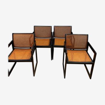 Chaises en bois et cannage vintage