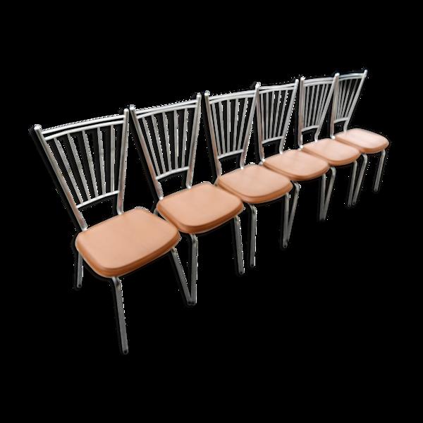 Série de 6 chaises en acier chromé vers 1970