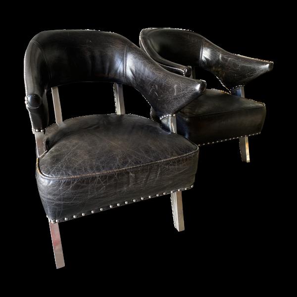 Selency Fauteuils cuir noir et acier