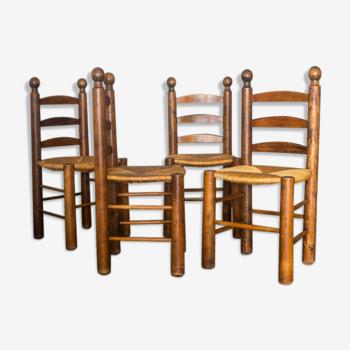 Set de 4 chaises bois et paille dans l'esprit Brutaliste