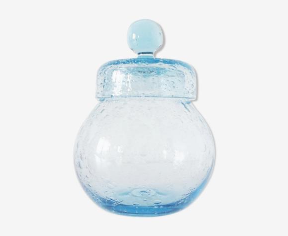 Flacon rond en verre bullé biot vintage