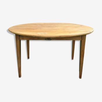 Table à rabats bois massif patiné vintage