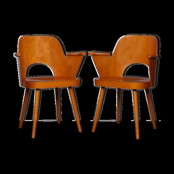 Selency Paire de fauteuils en bois par Lubomir Hofmann pour Ton, 1960