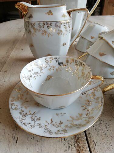 Service à café doré fleurs Limoges