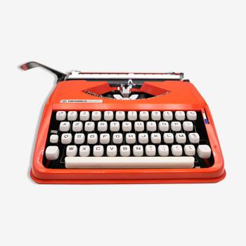 Machine à écrire hermes baby orange corail cursive révisée ruban neuf