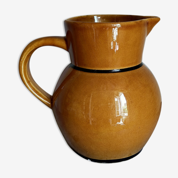 Pichet à eau céramique provençale jaune au filet noir