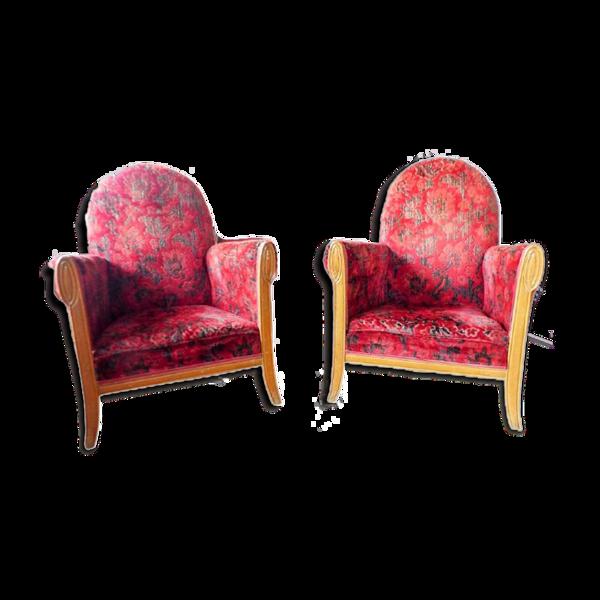 Selency Paire de fauteuils club de salon circa epoque art nouveau