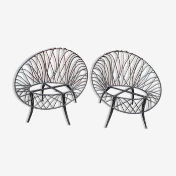 Paire 2 fauteuils design US fer forgé ep 1980