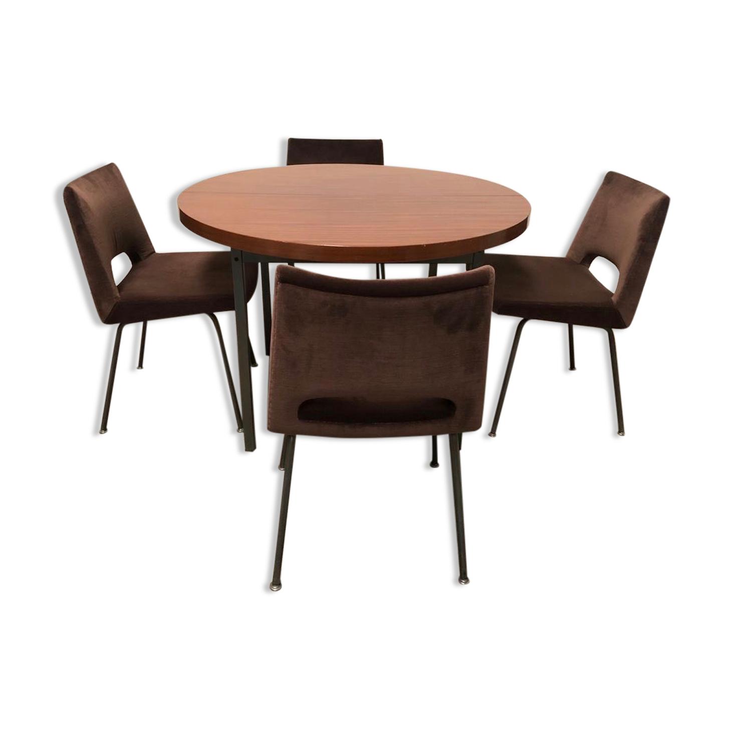 Table de salle à manger ovale et 4 chaises de Georges Frydman éditée par E.F.A 1965
