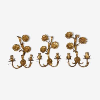 """Série de 3 appliques fleurs """" tournesols """" en métal doré années 70"""