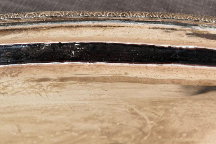 Ancien plat à poisson en métal argenté