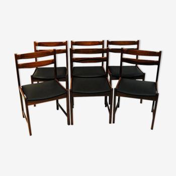 6 chaises à manger en bois de rose du milieu du siècle avec sièges Leatherette 'Bruksbo', Norvège années 1960