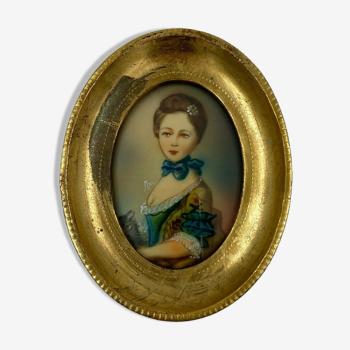 Miniature femme au chat XXeme