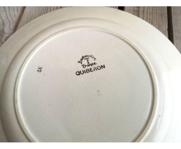 Plat rond en céramique Badonviller collection Quiberon